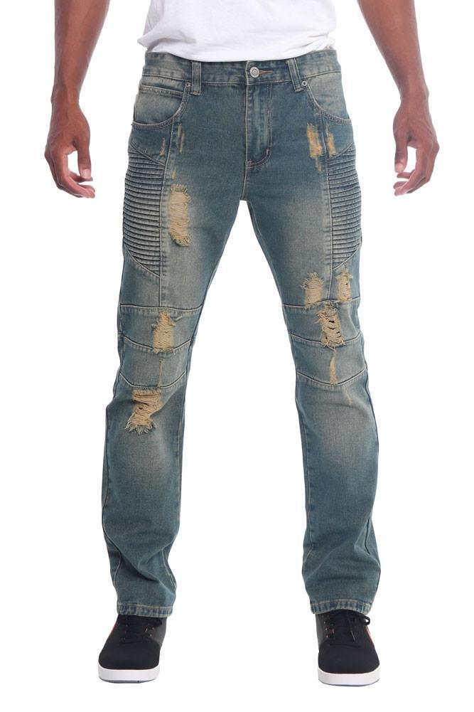 Image of Destroyed Slim Fit Moto Style Jeans