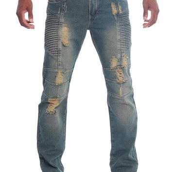 Destroyed Slim Fit Moto Style Jeans