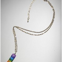 Pride Rainbow Crystal Necklace - Spencer's
