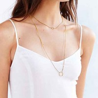 Open Circle Layering Necklace- Gold One