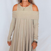 Sisters Off The Shoulder Tunic Top in Taupe