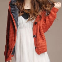 Red Long Sleeve Hooded Cardigan