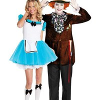 Enchanted Alice and Deluxe Mad Hatter Alice in Wonderland Couples Costumes- Party City