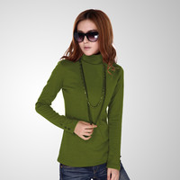 Woman spring plus size Solid Turtleneck Full button thicken sweaters lady winter strech hedging warm cotton slim Sweater D05