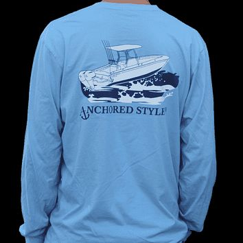 Long Sleeve Angler Tee in Blue by Anchored Style