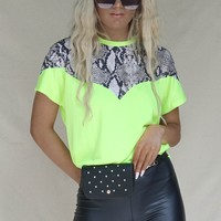 Crazy Night Neon Yellow Snakeskin Jersey Top
