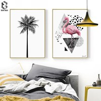 Nordic Canvas Prints and Posters Wall Art Flamingo Wall Pictures Palm Tree for Home Decoration, Modern Paintings Wall Decor
