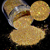 """1/128"""" Small Glitter Dust Laser Holographic Gold Nails Tips Dazzling Hexagon Nail Art and Glitter Crafts N47"""