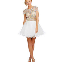 Glamour by Terani Couture Cap Sleeve Jeweled Party Dress - Ivory