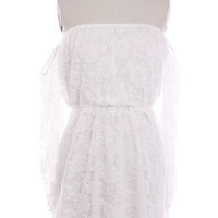 Wisteria Lane Off the Shoulder Dress - White Lace -  $45.00   Daily Chic Dresses   International Shipping