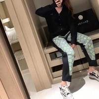 """""""Louis Vuitton"""" Women Casual Classic Letter Print Pocket Sweatpants Couple Thickened Leisure Pants Trousers"""