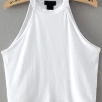 White Halter Crop Muscle Tee