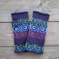 Hand - knit Fingerless Gloves - Wool Fingerless Gloves - Bohemian Accessories - Colorful Gloves - Fashion Gloves - Earth Tones Gloves nO 99.