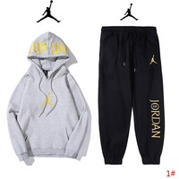 Jordan New fashion embroidery people letter couple long sleeve top sweater and pants two piece suit 1#
