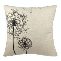 """Luxbon - Morden Stylish Simplicity Dandelion Floral """"As You Wish"""" Cotton Linen Sofa Couch Chair Throw Pillowcase Cushion Cover Decorative Insert Not Included"""
