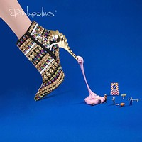 Brand Pink Palms women winter shoes gold color sequined cloth high heels ankle boots pointed toe snow casual women boots
