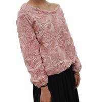 LookbookStore Women's 3D Mesh Lace Rose Floral Long Sleeve Jumper Top Sweater Baby Pink US 8