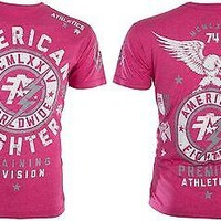Licensed Official AMERICAN FIGHTER Mens T-Shirt MADISON Eagle PINK Athletic Biker Gym MMA UFC $40