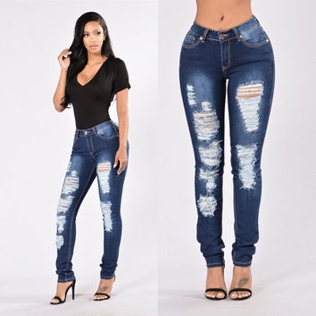 Ripped Semi-Acid Washed Denim Jeans