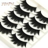 YOKPN Makeup Thick False Eyelashes Exaggerated Black Crisscross Messy Long False Eyelashes Pure Hand Cotton Thread Soft Eyelashe
