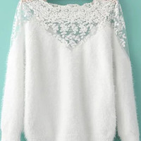 White Lace Embroidered Mohair Long Sleeve Sweater