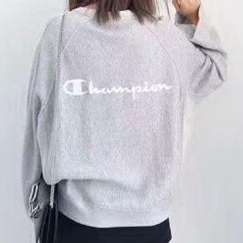 Champion men and women couple new embroidered sketched head round neck sweater F-CY-MN grey
