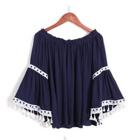 Vintage Ethnic Style Blouses 2017 Women Off Shoulder Chiffon Blouse Flare Sleeve Embroidery Tassel Loose Casual Shirt Women Tops