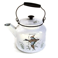 Vintage Enamel Dela-Ware Tea Kettle White with Waterfowl and Cat Tails Hand Colored