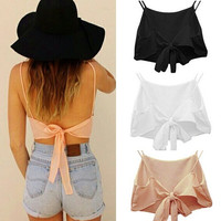 Sexy Women Sleeveless Backless Camisole Shirt Summer Casual Blouse Crop Tops = 1956646788