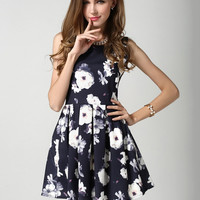 Black Sleeveless Floral Sheath A-line Pleated Mini Dress