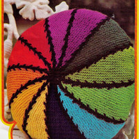 VINTaGE 1960s RAINBoW STRIPED CIRcLE CUSHIoN RetrO StYLE FoR Your HoME 36 Cm'S -Great & EasY For GifTs 8 PLY - Knitting PDF Instant Pattern