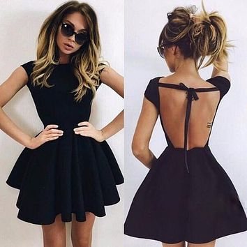 Backless Strappy Solid Color Short Sleeve Mini Dress