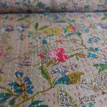 Beige Color Floral Print Cotton kantha Quilt, Handmade Twin Size Paradise Print Cotton Bedspread, Multi Print Indian Designer Bedding