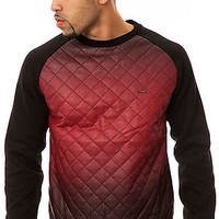 The Ombre Quilted Vegan Leather Crew Fleece in Black & Red
