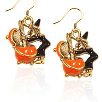 Designer Gold Witch Charm Earrings