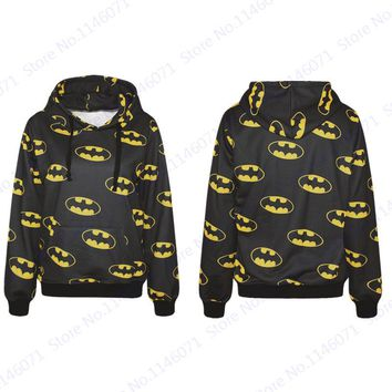 Batman Skateboarding Sweatshirts Yellow Smiles Active Hip Hop Hoodies The Dark Knight Pullover Black Unisex Jackets Hooded Men