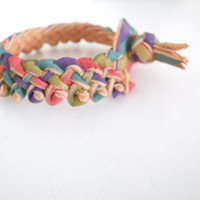 Free Shipping / Braided Leather Cuff / Hand Painted Leather Bracelet / Bangle / Handmade in UK