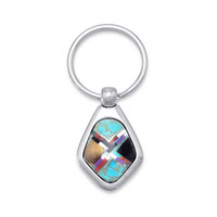 Stainless Steel Key Ring with Multicolor Imitation Stones