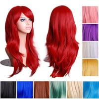 14 Colors 70cm Long Wavy Full Head Wig Anime Cosplay Synthetic Lace Fron Wig, Black Blue Pink White Red Purple Cosplay Cheap Wig