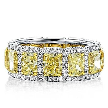 A Stunning Canary Yellow 12TCW Cushion Cut Sapphire Full Eternity Wedding Band