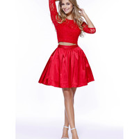Preorder -  Red Lace Long Sleeved Two Piece Dress 2016 Prom Dresses