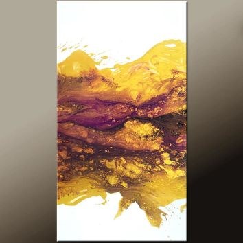24x48 Abstract Contemporary Canvas Wall Art Painting by Destiny Womack -dWo- Golden Sunset