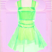 Neon Green transparent suspended Hologram Holo galaxy Sparkle Flare Skater Skate Dress Rave Festival skirt Dress