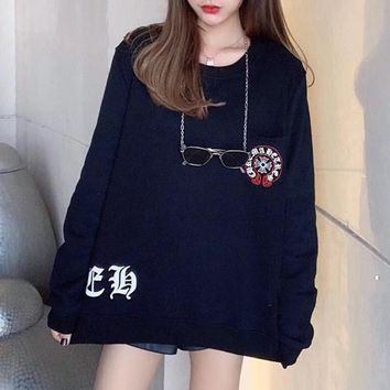 """""""Chrome Hearts"""" Women Fashion Cool Cross Pattern Print Embroidery Long Sleeve Sweater Tops"""