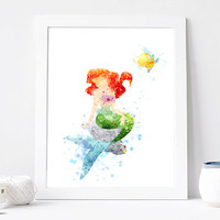 Princess Ariel Poster - Watercolor Art Print, Room Decor, Disney Little Mermaid Poster, Home Baby Nursery Wall Art