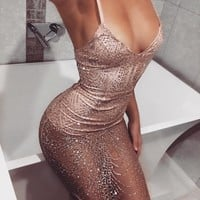 Sleeveless Shinning Backless Sequined  Party Short Bodycon Dress