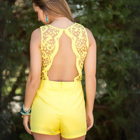 Make a Wish Romper-Yellow