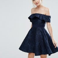 Chi Chi London Petite Textured Off Shoulder Mini Prom Skater Dress at asos.com