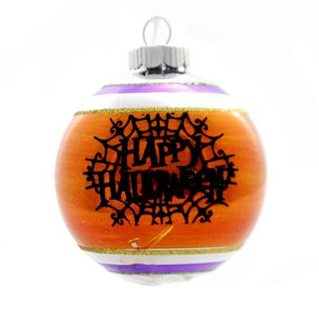 Shiny Brite HALLOWEEN DEC ROUNDS REFLECTOR. Spiders Spooky Ornament 4027670 Orange Web