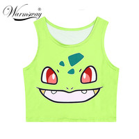 2016 Hot sale pokemon T-Shirts 3D Print women tank tops & camis sleeveless vest girls summer short bustier crop tops TS-079